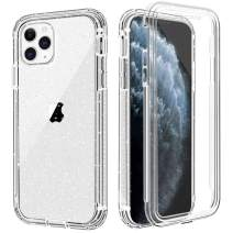 "iPhone 11 Pro Max Case, Anuck Crystal Clear Full-body Protective Case [Built-in Screen Protector] Heavy Duty Defender Shockproof Hard PC Soft TPU Bumper Cover for iPhone 11 Pro Max 6.5"", Clear Glitter"