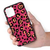 Coral Red Leopard Print Compatible with iPhone 11 Case, TPU Soft Side Hard Shell Anti-Scratch Protective Cover