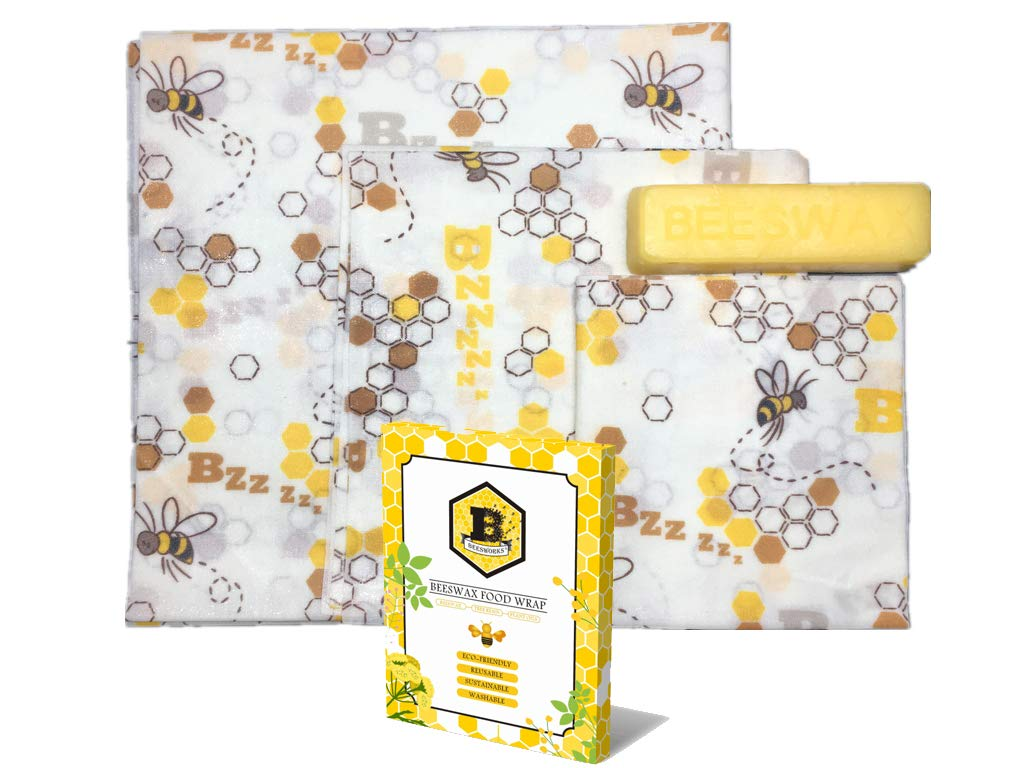 Beesworks Organic Beeswax Wraps-Food, Sandwich, Snack Wrap-Set of 3, 1 Large, 1 Medium, 1 Small-With Beeswax-With Beeswax Bar for Refreshing Wrap