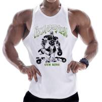 PAIZH Mens Muscle Printed Workout Tank Top Gym Bodybuilding Sleeveless T-Shirts