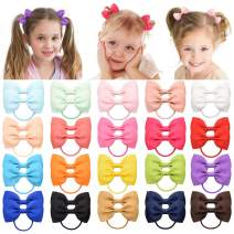 "40 Pieces 2.75"" Baby Girls Hair Bows Tie Grosgrain Ribbon Bows Rubber Band Ribbon Hair bands For Girl Teens Kids Babies Toddlers (20 Pair 023)"