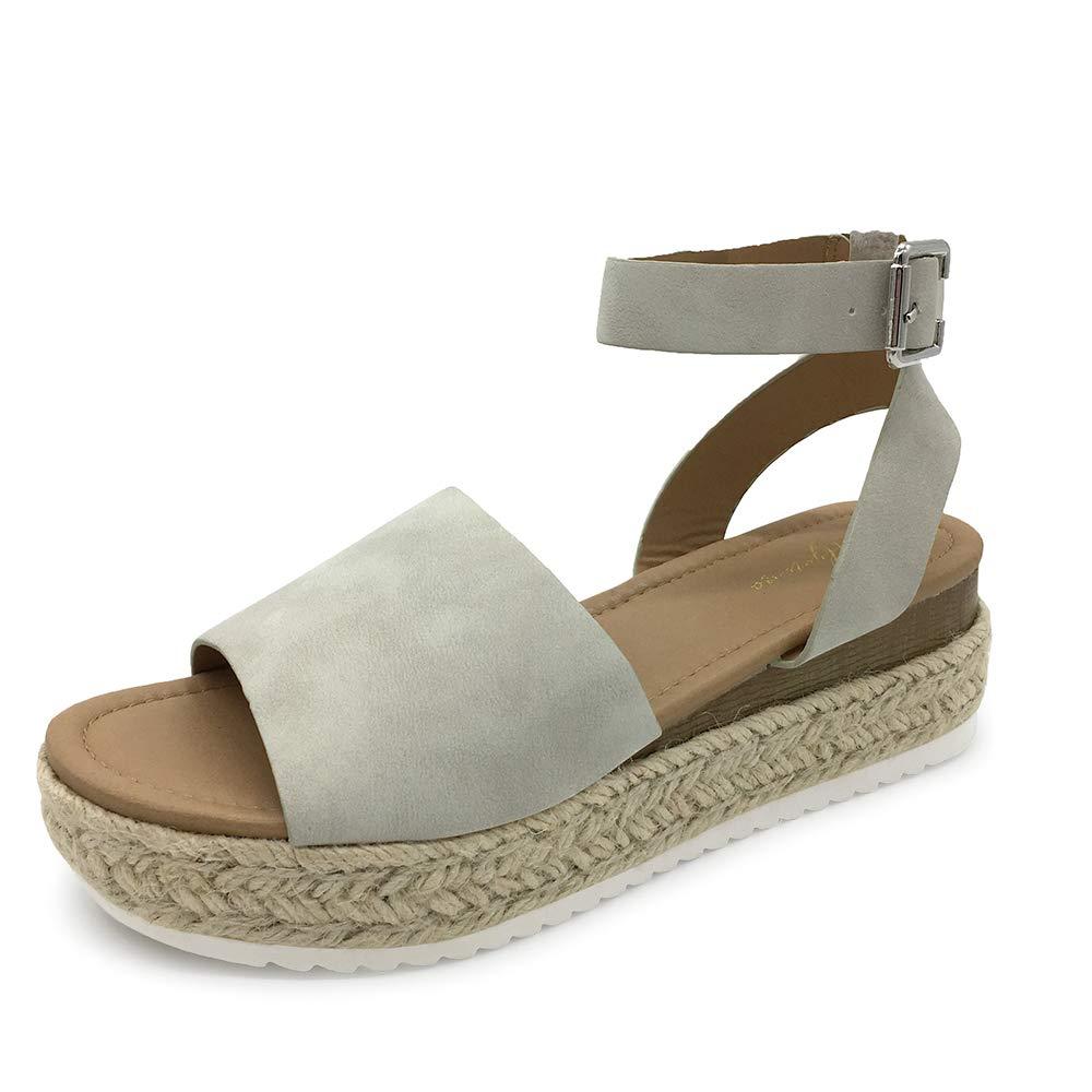 LUFFYMOMO Women's Platform Ankle Strap Sandals Open Toe Studded Wedge Summer Sandals