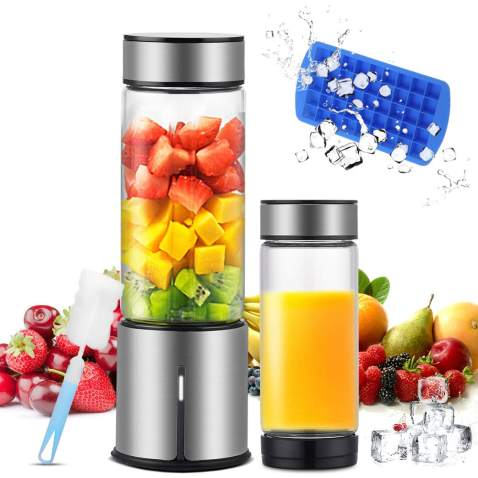 KACSOO Portable Blender for Smoothie and Shakes, 2 Lids Personal Blender USB Rechargeable Cordless 15 OZ Small Mixer Glass Fruit Juicer Cup Single Serve Blender for Travel on the go
