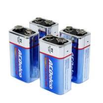 ACDelco 9 Volt Batteries, Super Alkaline Battery, 4 Count Pack