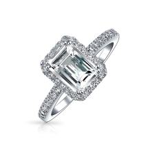 2CT Emerald Cut Cubic Zirconia Thin Pave Band Halo CZ Deco Style 925 Sterling Silver Engagement Promise Ring For Women