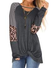 Damissly Women's Leopard Twist Knot Shirts Long Sleeve Chest Cutout Round Neck Casual Striped Loose Tunics Tops Blouse Tee(Grey L)