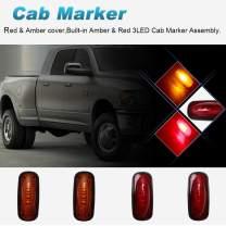 4PCS Colorful Lens Dual Cab Bed Front Rear Side Fender Marker 3 LED Lights for 2000-2017 Dodge Ram 2500 3500 Pickup Models(Red&Amber)