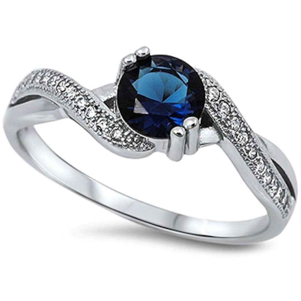 Oxford Diamond Co Round Simulated Blue Sapphire & White Cubic Zirconia .925 Sterling Silver Ring Sizes 3-12