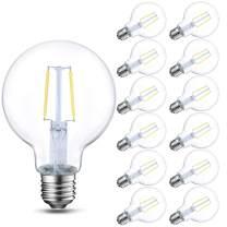 12-Pack Energetic Lighting Dimmable LED Edison Light Bulb, G25 (G80) Globe Bulb, 60W Equivalent, 5000K Daylight, Christmas Light, E26 Standard Base, UL Listed