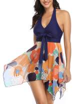 Lovelyduo Women Halter Plus Size Swimsuit Tankini Mesh Printed Bathing Suits
