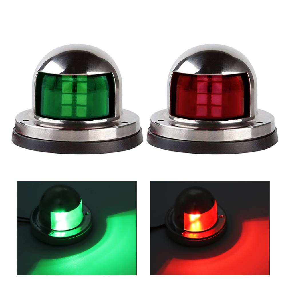 Acelane One Pair LED Navigation Lights Red and Green Lights Marine Sailing Signal Lights Stainless Steel 12V Bow Side Port Starboard for Boating Fishing Yacht, Pontoons, Chandlery Boat