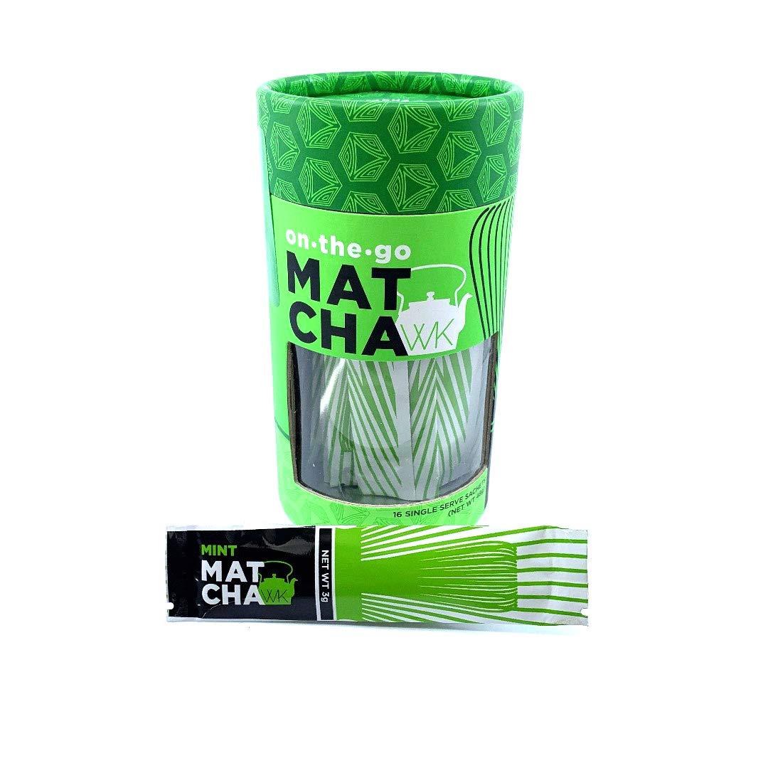 Whistling Kettle Organic Matcha Green Tea Powder - Refreshing & Energizing Tea with Natural Flavors - Mint, 16 Sachets (48 grams)