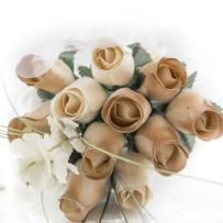The Original Wooden Rose 50 Year Anniversary Gold and White Flower Bouquet Closed Bud (1 Dozen)
