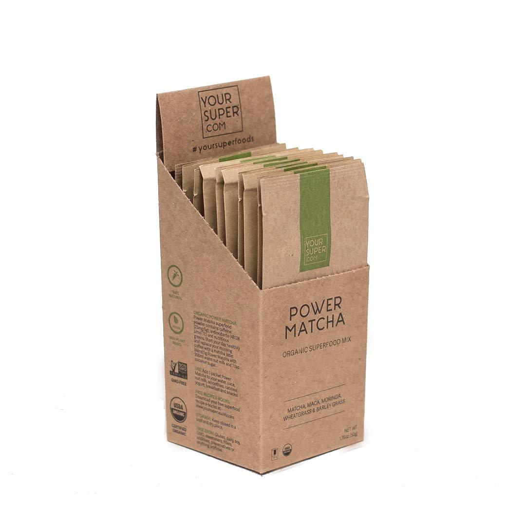 Your Super Power Matcha Travel Packs - Plant Based Focus and Energy Blend, Green Tea Powder, Natural Caffeine, Antioxidants & Essential Vitamins, Non-GMO, Organic Maca (10 Servings, 1.7 oz)