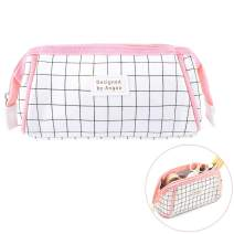 iSuperb Large Capacity Canvas Pencil Case Trapezoid Shape Pen Bag Stationery Organizer Office Storage Bag Cosmetic Bag with Zipper