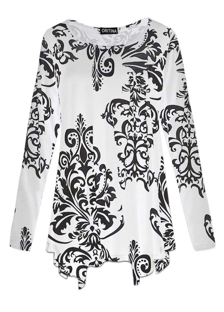 Oritina Womens Plus Size Long Sleeve Flattering Comfy Tunic Loose Fit Flowy Top