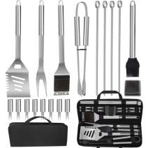 POLIGO 19PCS Barbecue Grill Utensils Kit Stainless Steel BBQ Grill Tools Set - Premium Grill Accessories in Storage Bag for Camping - Ideal Grilling Set Gifts for Christmas Birthday Presents Dad Men