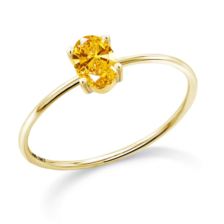 10K Yellow Gold Engagement Ring Set with Golden Yellow Zirconia from Swarovski