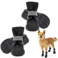 SCENEREAL Waterproof Dog Boots 6Pcs Dog Shoes Heavy-Duty Anti-Slip Pet Boots Adjustable Reflective Pet Paw Protector for Dog Small Medium Large Dog Wearing