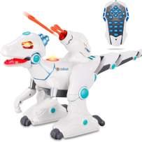 wodtoizi RC Dinosaur Robot Toys Remote Control Walking Dinosaur Toy Dino Roar Interactive Intelligent Educational Dance Sing Missiles Launch Water Mist Spray Story Telling Learning Velociraptor
