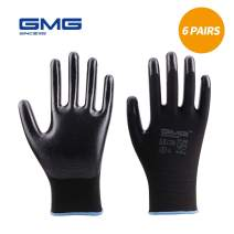 GMG Work Gloves for Men and Women, 6 Pairs, Nitrile Coated Nylon Shell Knit Wrist Cuff Safety Gloves for Outdoor Garden Working, Hardware Tools, DIY (9-Large)
