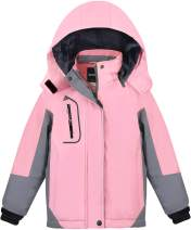 MORCOE Girls' Waterproof Fleece Ski Jacket Outdoor Winter Outerwear Windproof Mountain Snow Snowboarding Coat with Hood
