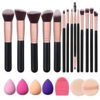 Akstore Makeup Brushes 14 Pcs Makeup Brush Set Travel makeup brush set with 4 Makeup Sponge Blender 2 Makeup Foundation Sponge Air Cushion Powder Puff 1 silicone brush cleaner (Rose Gold)
