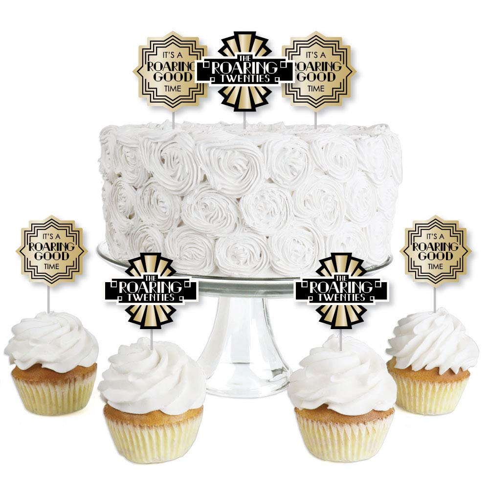 Roaring 20's - Dessert Cupcake Toppers - 1920s Art Deco Jazz Party Clear Treat Picks - 2020 Graduation and Prom Party - Set of 24