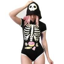 Littleforbig Adult Baby Diaper Lover (ABDL) Button Crotch Onesie – Sweet Reaper Night-Glow Halloween