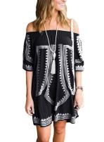 GOSOPIN Bohemian Vibe Geometric Print Off The Shoulder Beach Dress
