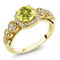 Gem Stone King 1.32 Ct Round Canary Mystic Topaz 18K Yellow Gold Plated Silver Ring