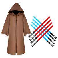 Vlish Jedi Robes for Kids – Brown, Small | Halloween Costume Party Dress Up with 8 Red and Blue Inflatable Swords for Star Wars Birthday Parties, Vampire Cosplay, Monks, Grim Reaper, Yoda
