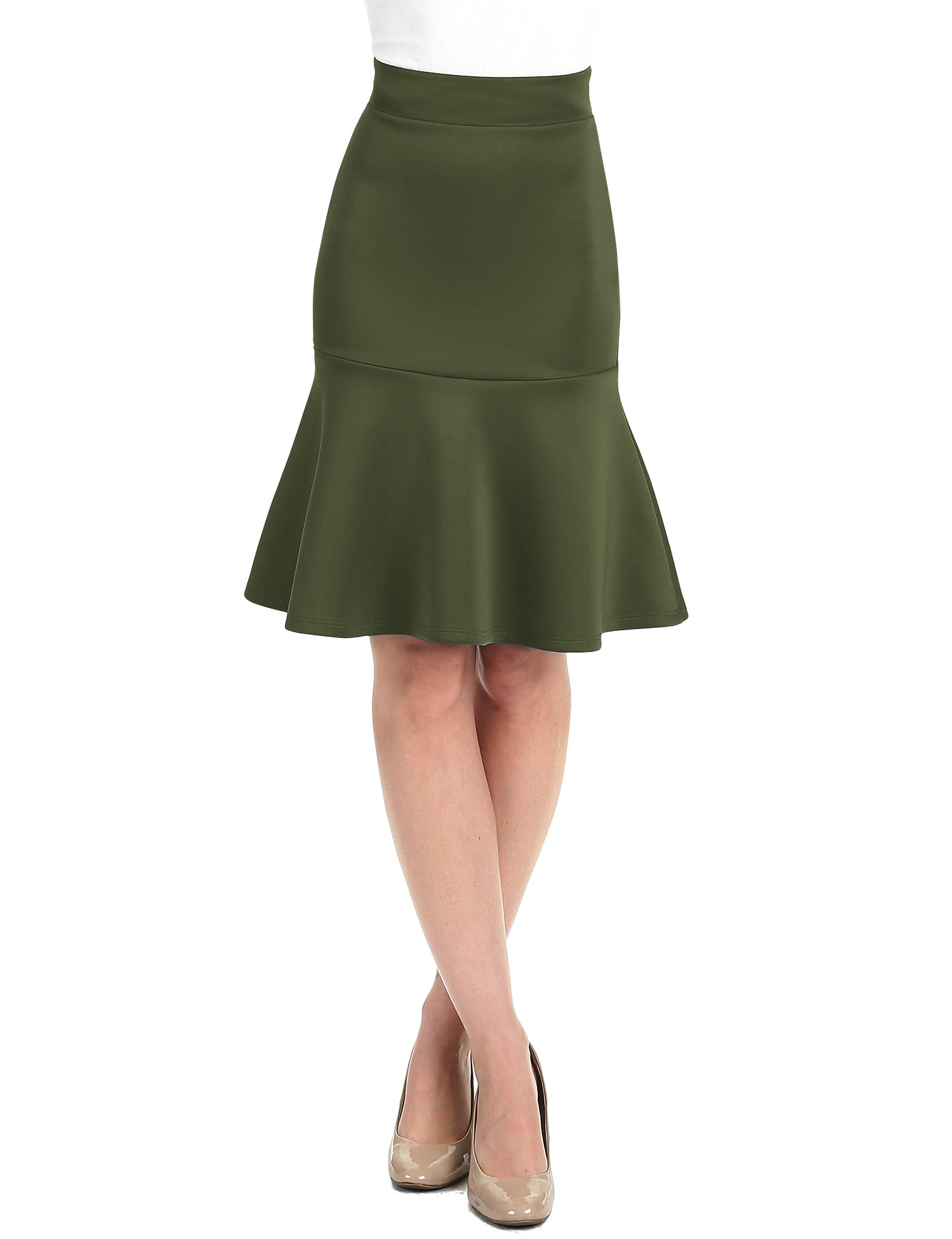 WT1471 Womens High Waist Bodycon Fishtail Midi Skirt XL Olive