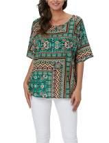 Vanbuy Womens Crewneck Short Sleeve Boho Floral Print Cotton Linen Top Blouse Peasant Shirt