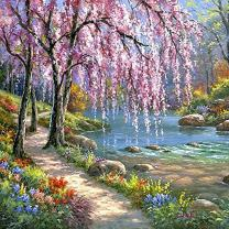 Fairylove DIY Oil Painting Paint by Numbers Kits for Adults & Kids Home Wall Decor Nature View Canvas Art Work - Without Frame (Romantic Creek, 16 x 20 inch)