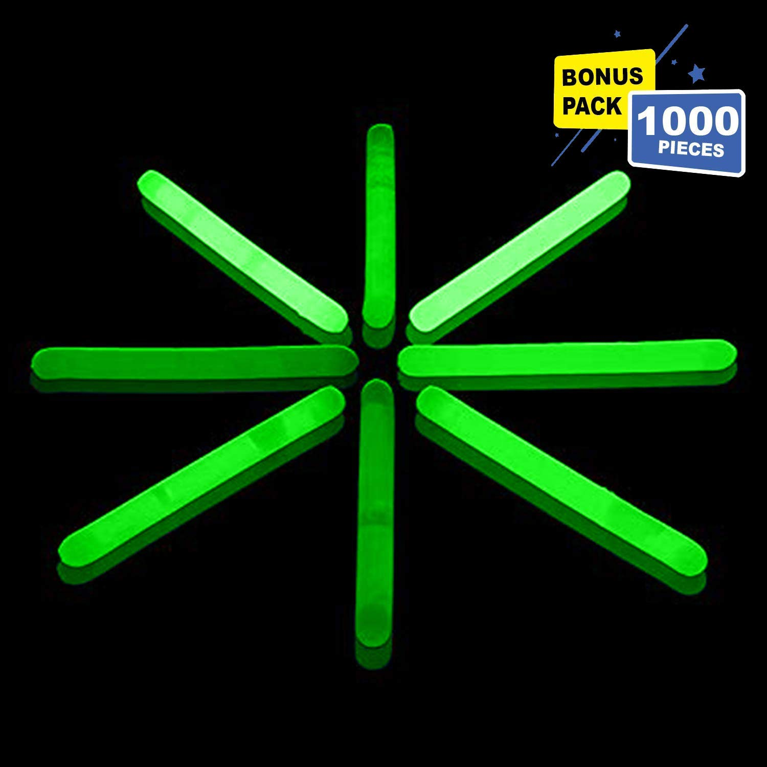 Lumistick 1.5 Inch Fishing Glow Sticks   Bright Color Snap Lights Glowsticks   Neon Mini Light for Swimming   Glow in The Dark Camping Night Party Favor Supplies (Green, 1000 Glow Sticks)