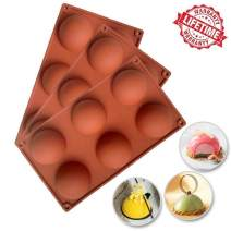 Silicone Cake Mold, IC ICLOVER Food Grade 6 Cavities Hemisphere Dome Silicone Mold for Halloween Christmas,Half Sphere Bakeware for Making Delicate Chocolate Desserts Ice Cream Bombes Cakes Soap,3Pack