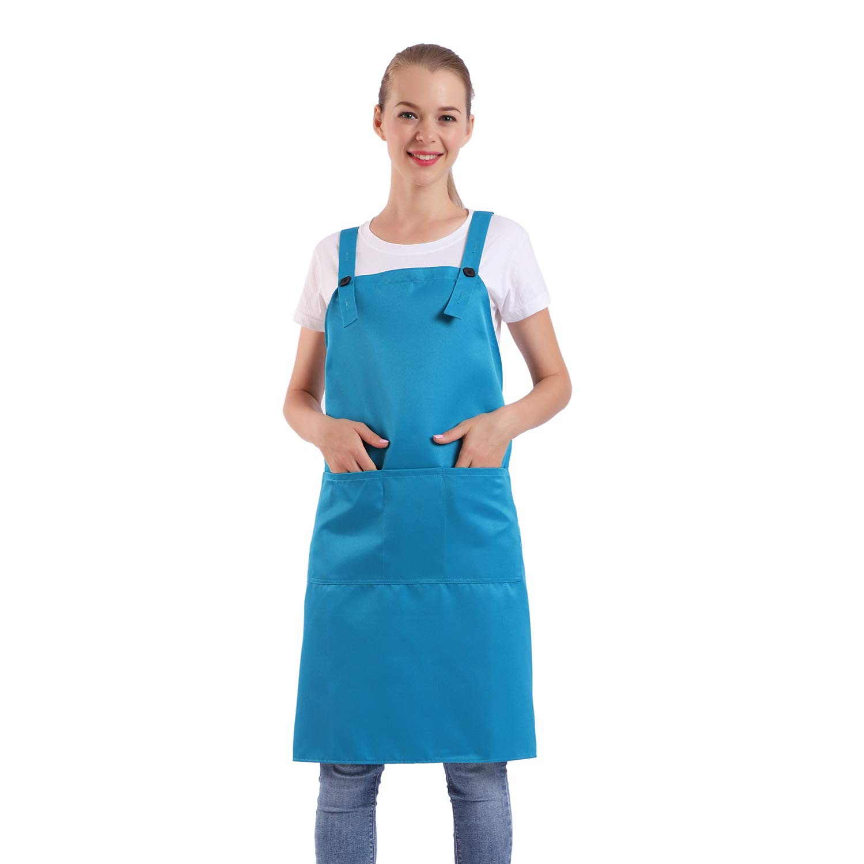 BIGHAS H Style Apron with Pocket for Women, Men Adjustable Large Size Comfortable, Kitchen, Home, Cooking 12 Colors (Scuba Blue)