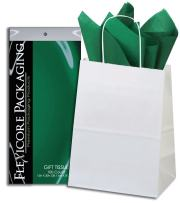 Flexicore Packaging White Kraft Paper Gift Bags & Green Gift Wrap Tissue Paper Size: 8 Inch X 4.75 Inch X 10.5 Inch   Count: 50 Bags   Color: Green