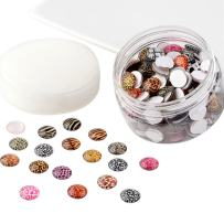 Pandahall 1 Box(About 200pcs) 12mm Mixed Color Printed Half Round/Dome Glass Cabochons for Jewelry Making (Animal Skin)