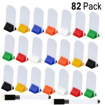 82 Pcs Blank Game Board Markers and Game Card Stands with Black Marker Pens, 45 Plastic Token Cards DIY Game Markers with 35 Multi-Color Card Stands for Party Favor