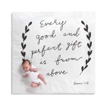 DEMDACO Good and Perfect Gift from Above Black and White 47 x 47 Muslin Baby Nursery Photo Swaddling Blanket
