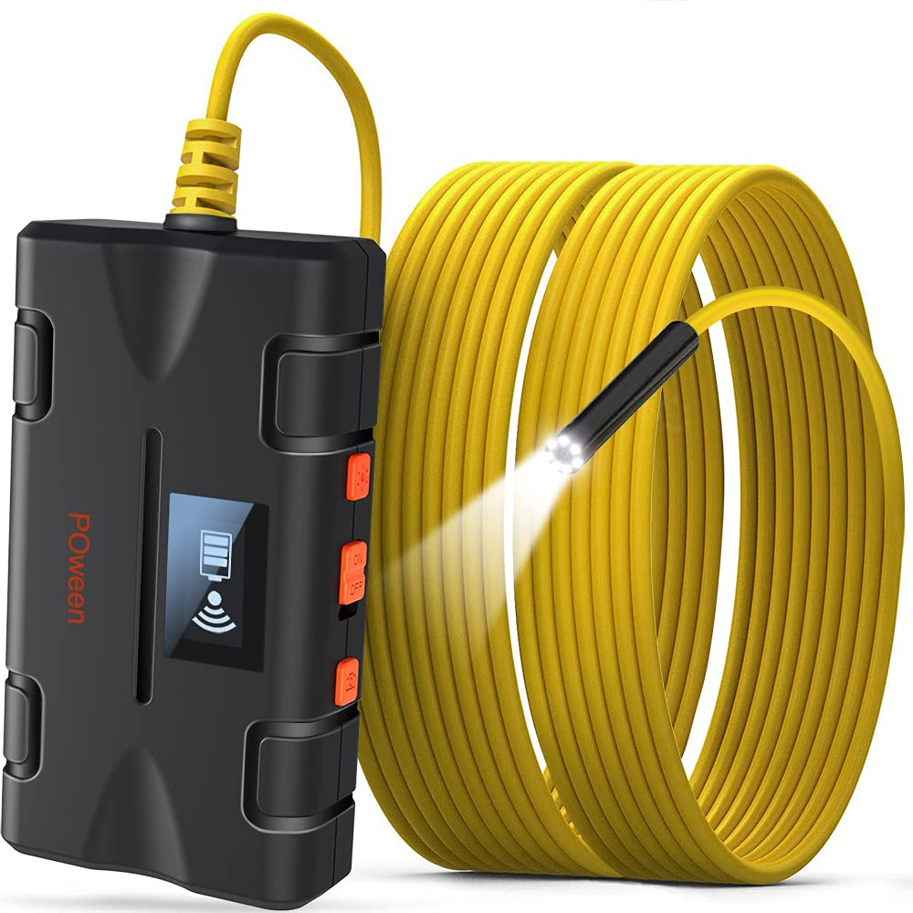 POween Wireless Endoscope Camera, 1080P Inspection Camera for Sewer Drain Pipeline Semi-Rigid Flexible Cable Snake Camera Waterproof WiFi Borescope Camera for iPhone Android iOS Smartphone