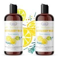 Sensitive Skin Body Wash Natural (2PK)   pH 5.5 Neutral Balanced   Best Non-Irritating Shower Gel for Men and Women   Lemon Zest Essentials Oils
