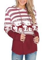 Womens Pullover Sweatshirt Color Block Hoodie Striped Long Sleeve Tops