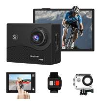 DveeTech 4K+ 30fps WiFi Real 4K Action Camera 100 Feet Waterproof Remote Control Sports Camera Touch Screen 170 Degree Ultra Wide Angle Lens with 2 Rechargeable Batteries and Mounting Accessories Kit