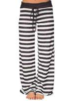 Famulily Women's Comfy Light Weight Loose Striped Palazzo Pj Lounge Pants