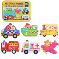 6 Pack Wooden Jigsaw Puzzles for Toddlers Kids 1 2 3 Years Old Educational Toys for Boys and Girls Including Animal Puzzles and Cars Puzzles