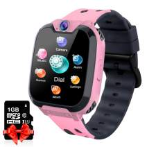 Kids Smart Watch Music Player with SD Card HD Touch Screen Sports Smartwatch Games Two-Way Call Camera Recorder Alarm Clock Music Player Calculator for Birthday Gift Toys Children Boys Girls (Pink)