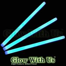 "Glow Sticks Bulk Wholesale, 10 12"" 15mm Dia. Blue Industrial Grade Jumbo Light Sticks, Bright Color, Glow 14 Hrs, Safety Glow Stick 3yrs Shelf Life, Ideal for Camping & Emergency, GlowWithUs Brand"